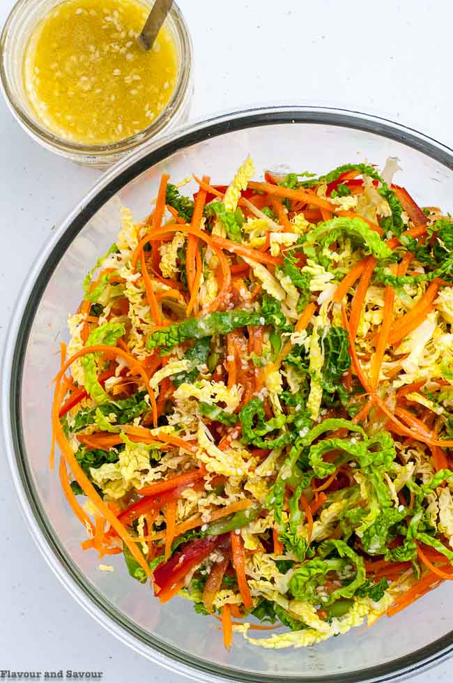 Crunchy Cabbage Coleslaw with Sesame Miso Dressing