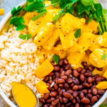 15-Minute Mango Lime Chicken with Rice and Beans